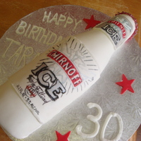 "Smirnoff Ice Bottle Cake made for a close friend's 30th birthday, Smirnoff ice is her fav drink! carved from a 16"" x 41/2""wide loaf pan, WASC with..."