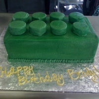 Lego Cake Birthday cake for a little boy. Mom said he was very particular about the Lego Brick, had to be green with 8 knobs. I got the dimensions of...