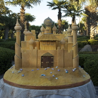 "Sandcastle Wedding Cake This is a massive sandcastle cake - the table it is sitting on is 66"" wide."