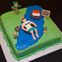River Tubing Groom's Cake The groom loves to float the river, so naturally his grooms cake reflected that!