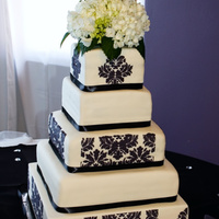 Damask Wedding Cake Love stenciling. Fondant covered cake.