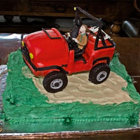 Jeep Grooms Cake Grooms cake for a wedding. Based on a picture she provided of his hunting jeep with him and his dog....bride called me later and said the...