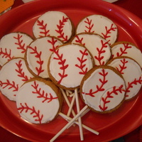 Baseball Cookie Pops To go along with the cake for a baseball party