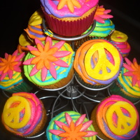 Groovy Cupcakes Fun, groovy, bright cupcakes for my daughter's 11th birthday :)