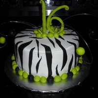 Lime Green, Zebra Sweet sixteen zebra cake covered in butter cream with fondant accents