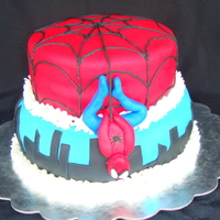 Spiderman My nephew wanted a Spiderman cake...but he is a very specific 5 year old. He insisted on having Spiderman hanging upside down on it...and...