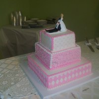 Pink And White Wedding Cake This was my first wedding cake, and first square cakes, I think they were ok but could've been better