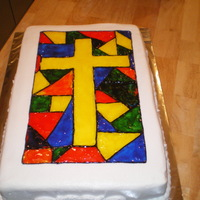 Stained Glass Cake Yellow cake, buttercream icing, piping gel