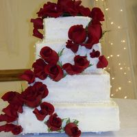 First Wedding Cake this is the first wedding cake I've ever tackled. It is french vanilla with strawberry buttercream filling and buttercream with fresh...
