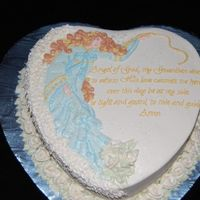 "Guardian Angel This cake sets a new record for the LONGEST decorating time for me. Took me most of the day. 10"" heart cake with buttercream icing and..."