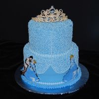 Cinderella I tried to make this cake look like a princess dress. The characters are chocolate transfers and the tiara is royal icing made from the...