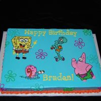 Spongebob I think this was the most fun of all the spongebob cakes I have done. 1/2 sheet cake. buttercream icing and decorations.