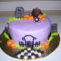 Halloween Cake Just one more Halloween cake! chocolate w/white buttercream, fondant covered with fondant figures. TFL