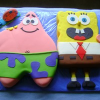 Spongebob And Patrick Made this for my nephew. Thank you to robint and margi24 for posting your fabulous cakes. My inspiration came from robint's spongebob...