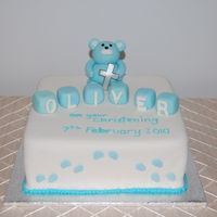 Baby Boy's Christening Cake I made this for a baby boys christening