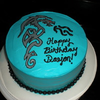 Tribal Dragon Cake The tribal dragon was made out of fondant, which was hard to transfer onto the cake. it broke but was ok when I got it on the cake. I used...