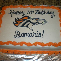 Broncos B-Day Cake I made this for my son's 10th b-day. The Bronco was made from fondant and outlined in buttercream icing.