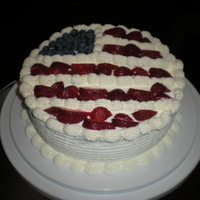 4Th Of July The icing is whipped cream and flag made from blueberries and cut strawberries. The inside is filled with whipped cream and strawberries....
