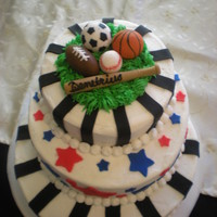 Sports B-Day Cake Everything is edible, the balls were all made out of fondant and then I used edible markers to add the details to basketball and baseball....