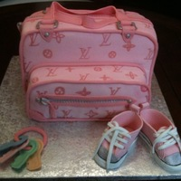 Diaper Bag Cake Chocolate cake with buttercream frosting. Used 12x12 cake pans then stacked and doweled. Covered with fondant. Handpainted logo. All...