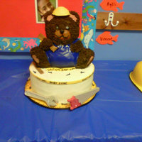 Construction Teddy Baby Shower Wilton 3D teddy bear in chocolate cake, 10in round wasc. Candy tools, fondant hard hat, overalls, caution tape, and nails. I thought this...