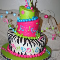 Funky Girly Cake 10in, 8in, 6in Topsy Turvy. Buttercream with MMF accents. My 2nd attempt at topsy turvy, 1st time using just buttercream to cover.