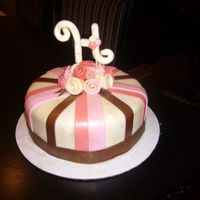 Simple Ribbon Rose Cake pink, brown & ivory cake with ribbon roses =)