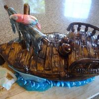 Pirate Ship Cake   my very first pirate ship cake & my first wood grain! i was really happy with how it turned out =)