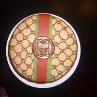 Gucci Theme Birthday Cake   gucci theme birthday cake with piped gucci logo & design =) i know there are flaws but live & learn haha =)