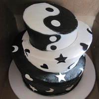 Topsy-Turvy Black And White Stacked Cake