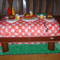 Picinic Table This was my very first attempt at this sort of cake. The tablecloth, benches, food, drinks and condements are all made from fondant. Got...