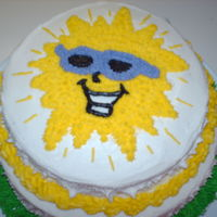 "Sunshine This was just a cake I came up with for my husbands boss... it was her ""me"" day. It was the middle of winter so I gave her a..."