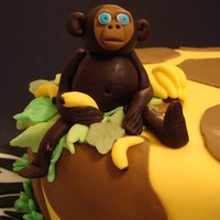 Monkeys For A Baby Shower sponge cake filled with butter cream and raspberry jam, covered totally in fondant.
