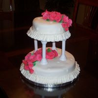 Two Tiered Fondant Cake   From Wilton class-Course 3- fondant roses