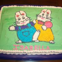 Max & Ruby Birthday Cake 11x14 cake pan, pattern transfer of Max & Ruby from coloring book, buttercream icing.