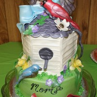 Birdhouse Cake 2 tier birdhouse cake bottom tier 8 inch round key lime. Top tier 6 inch hexagon key lime. All iced in buttercream with fondant details. My...