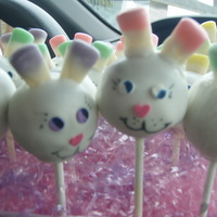 Easter Bunny Cake Pops Red Velvet with cream cheese frosting, candy corns, sprinkles, covered in white choc. candy melts