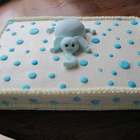 Blue Elephant Baby Shower   The elephant is made of fondant, the polka dots are royal icing.