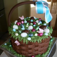 Rose Glen Appreciation Chocolate buttercream basket weave design with fondant/sugarpaste handle.