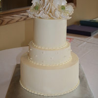 Simple Elegance Buttercream icing with edible pearls and sugarpaste flowers.