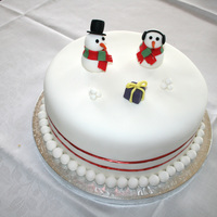 First Xmas Cake Double layered banana cake covered in buttercream then fondant. New Zealand has hot christmas weather and everytime I went to put the...