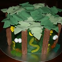 "Jungle Fever Birthday Cake This is a double layer cake. Bottom layer is chocolate cake, top is banana. Covered in green buttercream. I copied this out of the ""..."