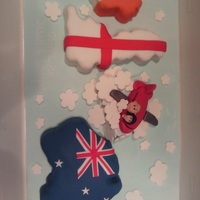 Uk And Oz   The couple of which I made this cake was from Ireland, lived in England and was emigating to Oz.