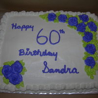 60Th Birthday white cake with BC icing