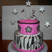 Sweet Sixteen White Cake with BC icing- stars are gumpaste and zebra stripes are fondant- Thanks!!!