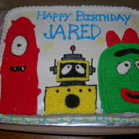 Yo Gabba Gabba Birthday Cake Made for a friend at work- Yellow cake with BC icing - inspired by other cakes on CC- I had no idea what Yo Gabba Gabba was until now......