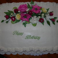 Birthday Cake White Cake w/ BC- flowers are gumpaste.