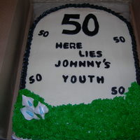 Tomb Stone 50th birthday cake- strawberry cake w. cream cheese icing