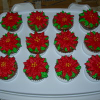 Poinsetta Cupcakes Brownies in cupcake form with BC icing poinsettas on top- Thanks!