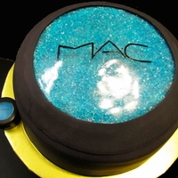 Mac Eyeshadow Cake 2layer choc cake. I cut the very top of the 2nd layer of cake(not evenly-just the very top-the isomalt is going to replace the dome shape...